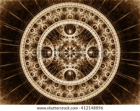 Abstract computer-generated image brown mandala flower. Fractal background or graphic design element. sacred geometry - rays and rings. - stock photo