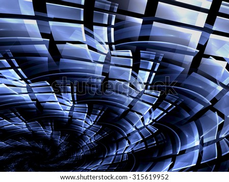 Abstract computer-generated image of the blue curl covered with scales for backgrounds or banners