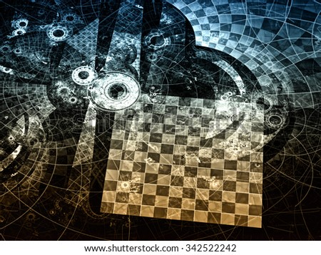 Abstract computer-generated image with grid and circles, reminiscent of the gear or parts of the futuristic mechanism - stock photo