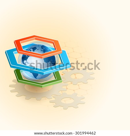 Abstract computer graphic design, three dimensions composition with Earth globe with atmosphere sphere, inside hexagonal frame and cogwheels gear on hexagonal backdrop, large space for text  - stock photo