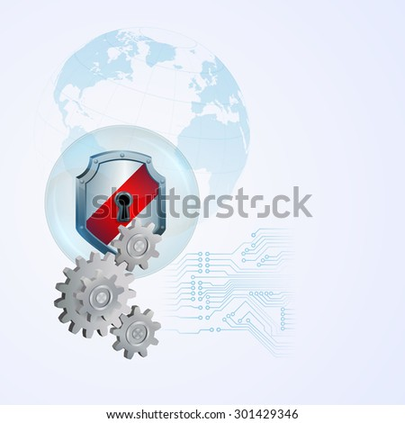 Abstract computer graphic design with defense shield behind  cogwheels; Security shield behind cogwheels in connection with circuits and light blue shadow of Earth globe in backdrop - stock photo