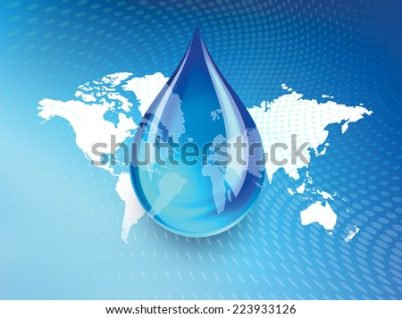 Abstract concept indicating a world wide fresh water shortage with a droplet of water suspended over a global map with swirling dots background. - stock photo