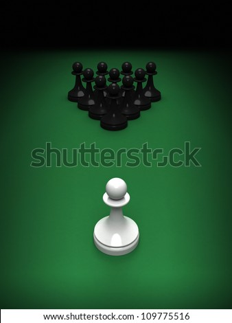 Abstract concept of chess and pool mix. One white pawn opposite blacks on the green pool table. 3d render illustration. - stock photo
