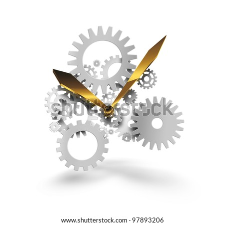 abstract concept time with the arrows and gears - stock photo