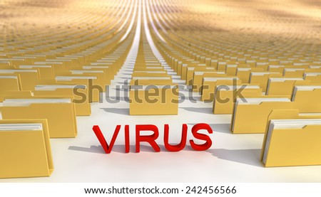 Abstract, concept. Virus and folders(files). - stock photo