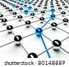 Abstract conception of network and communication, path 3d - stock photo