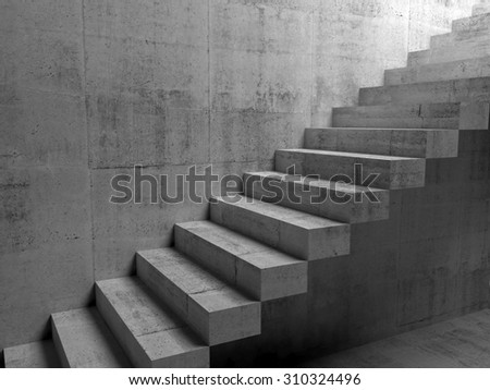 Abstract concrete interior with cantilevered stairs on the wall, 3d illustration