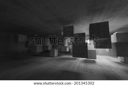 Abstract concrete interior with flying cubes. 3d render - stock photo