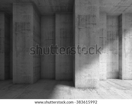 Abstract concrete interior with many corners. Modern architecture background, 3d illustration