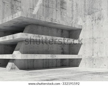 Abstract concrete room interior with empty floors construction, 3d render illustration