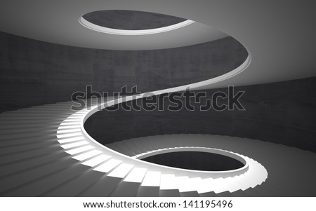 Abstract concrete spiral staircase - stock photo
