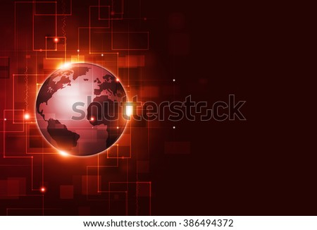 abstract connections technology and business communication red background