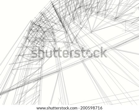 abstract construction building on white background