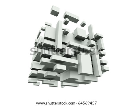 Abstract construction from plastic blocks - stock photo