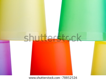 abstract construction made of plastic glasses - stock photo
