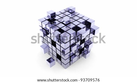 Abstract construction of shiny metal cubes - stock photo