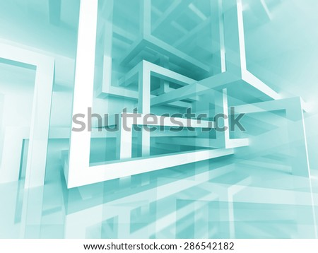 Abstract Construction Structure Architecture Design Background. 3d Render Illustration - stock photo