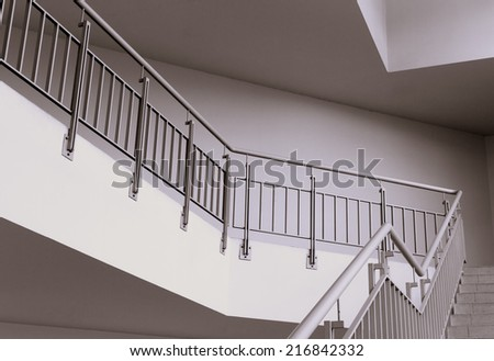 Abstract contemporary business interior concept: modern staircase in an office building (perspective).  - stock photo