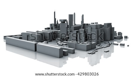 Abstract contemporary cityscape, dark gray living houses, industrial buildings and offices. 3d render isolated on white background with soft reflection over ground - stock photo