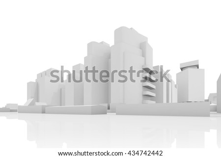 Abstract contemporary cityscape, houses, industrial buildings and office towers. 3d render illustration isolated on white - stock photo