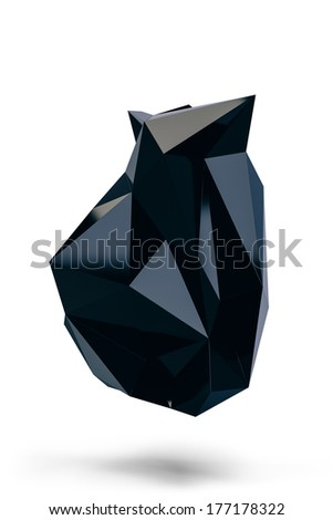 Abstract contemporary modern trendy polygonal heart shaped unusual black 3d gem stone, isolated on white background - stock photo