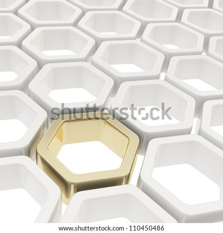 Abstract copyspace background made of one golden hexagon element among white ones - stock photo
