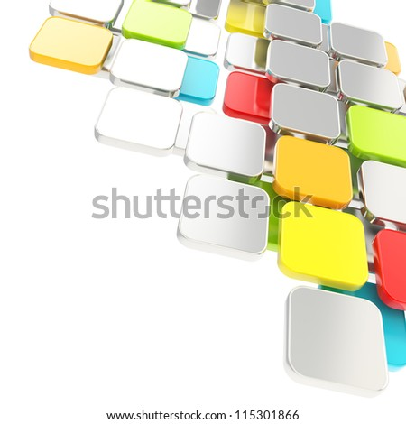 Abstract copyspace glossy colorful and metal plate composition background over white with the space for your text - stock photo