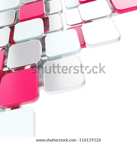 Abstract copyspace glossy pink magenta plate composition background over white with the space for your text - stock photo