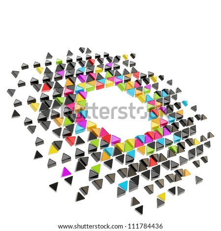 Abstract copyspace hexagon frame backdrop made of tiny glossy colorful triangles among black ones isolated on white background - stock photo