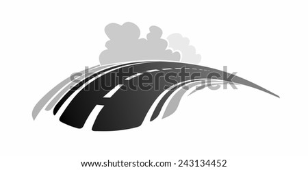 abstract country road with hill and bushes