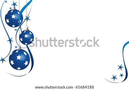 abstract creative christmas balls illustration with stars snow lines ribbon blue white - stock photo