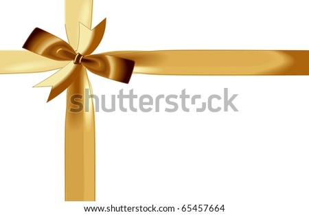 abstract creative Christmas Illustration gift ribbon Card gold white - stock photo