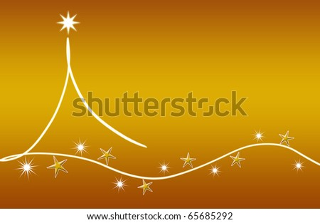 abstract creative christmas tree Illustration with stars and snowflakes gold white - stock photo