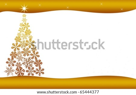 abstract creative christmas tree Illustration with stars and snowflakes gold yellow white - stock photo
