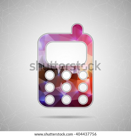 Abstract Creative concept icon of mobile phone for Web and Mobile Applications isolated on background. illustration template design, Business infographic and social media, origami icons. - stock photo