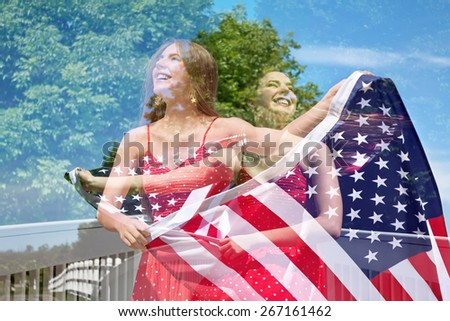Abstract creative double exposure of photos of patriotic woman waving American Flag for July 4th - stock photo