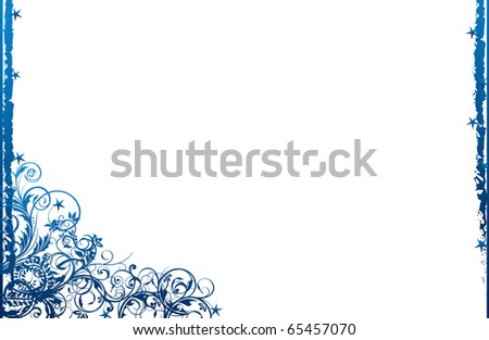 abstract creative romantic ice flower christmas card Illustration flowers stars snowflakes snow  blue - stock photo