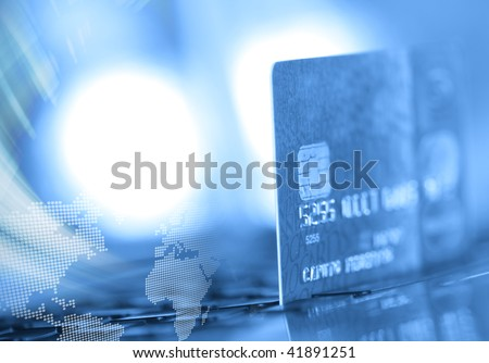 Abstract credit card background in blue tone - stock photo