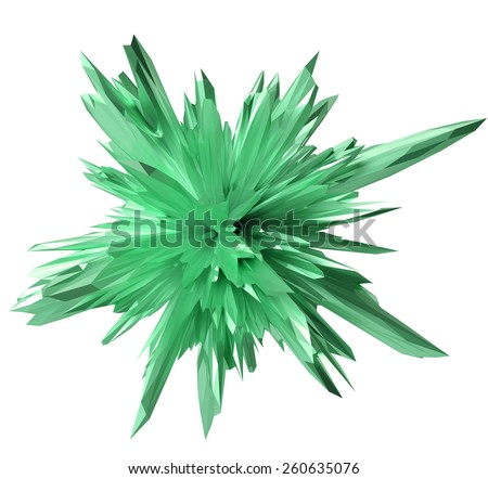 abstract crystal form -green - stock photo