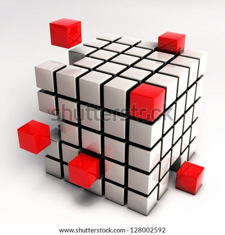 Abstract Cube Illustration - Red Cubes Separating from Single Cube Mesh isolated on white background