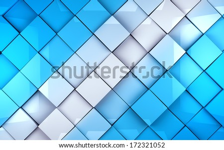 Abstract cubes background in blue toned. Wall tiles surface - stock photo