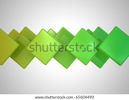 Abstract cubes green - stock photo