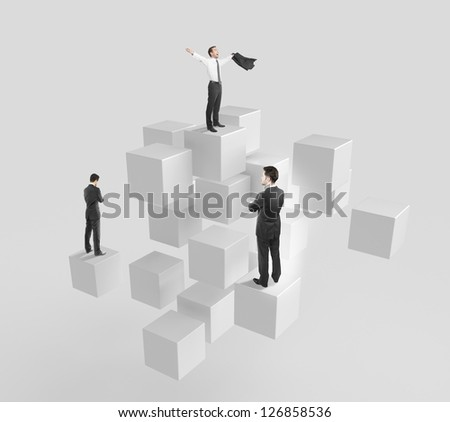 Abstract cubes in a row and businessman