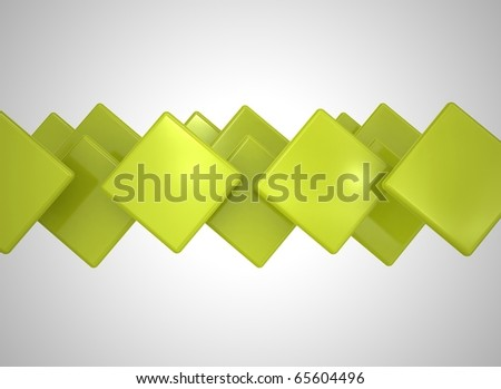 Abstract cubes yellow green