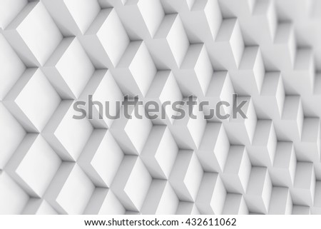 Abstract cubical background with depth of field effect. 3d illustration - stock photo