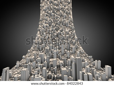 abstract curved city - stock photo