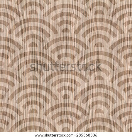 Abstract curved pattern - wavy style - Interior wall panel - Interior Design wallpaper - seamless background - wrapping paper - Blasted Oak Groove wood texture