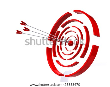 Abstract 3D a target for shooting from bow - stock photo