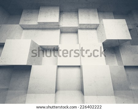 Abstract 3d architecture background with white concrete cubes - stock photo