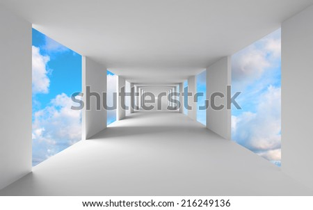 Abstract 3d architecture, empty white corridor with sky on background - stock photo